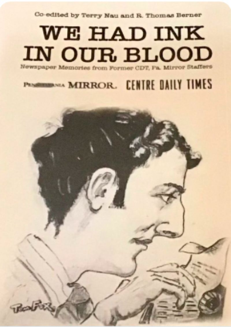 "Cover image of the book, ""We Had Ink in Our Blood,"" drawing/image of a man at a typewriter."
